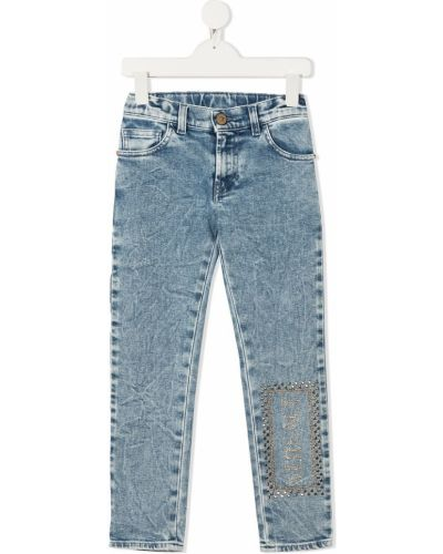 Klasyczne niebieskie jeansy z haftem Young Versace
