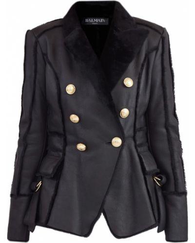 Кожаная куртка черная на пуговицах Balmain