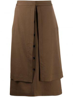 Brązowy wełniany z wysokim stanem spódnica ołówkowa z kieszeniami Lemaire