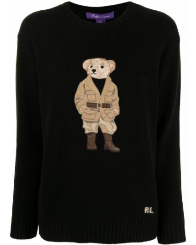 Czarna koszulka prążkowana Ralph Lauren Collection
