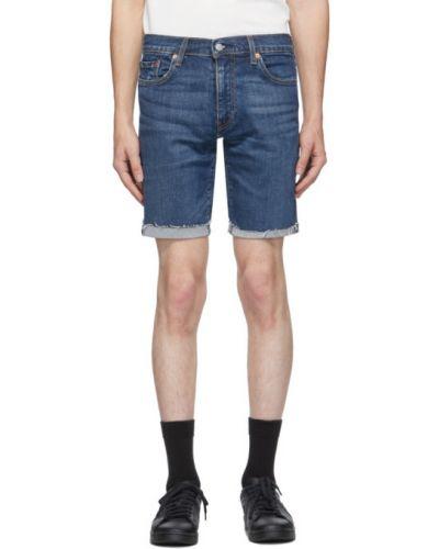 Niebieski dżinsowe szorty z kieszeniami przycięte z prawdziwej skóry Levi's