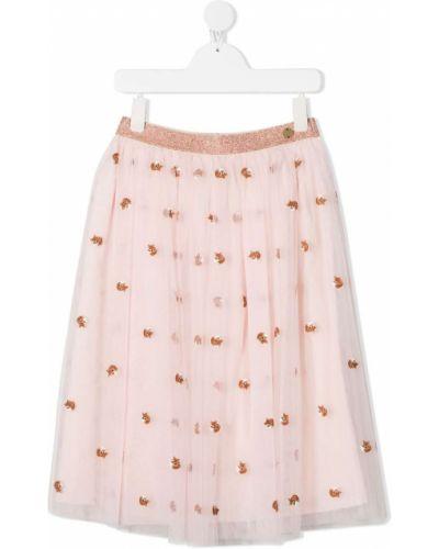 Пышная розовая юбка из фатина с поясом Lanvin Enfant