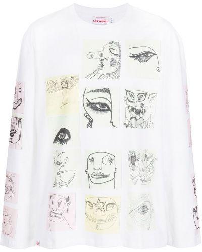 Biała bluza długa z długimi rękawami bawełniana Charles Jeffrey Loverboy