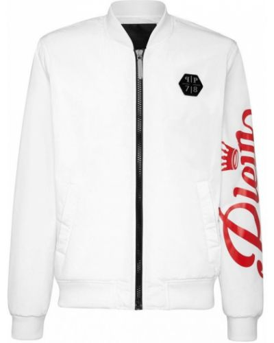 Biała długa kurtka z długimi rękawami z printem Philipp Plein