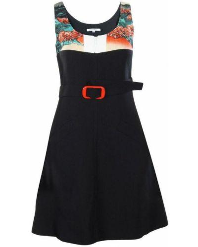 Czarna sukienka z paskiem Carven