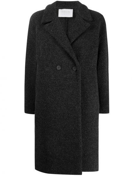 Шерстяное серое длинное пальто на пуговицах с лацканами Harris Wharf London