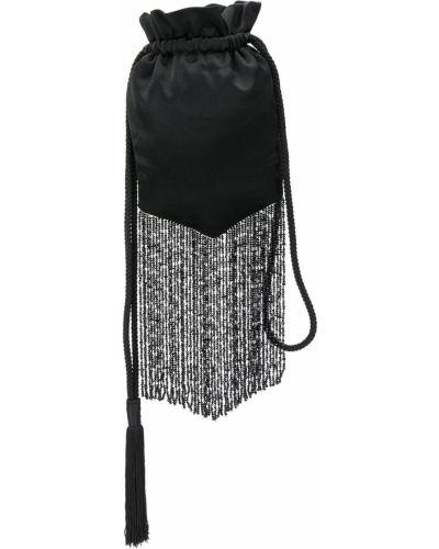 С кулиской черная сумка с бисером Galvan