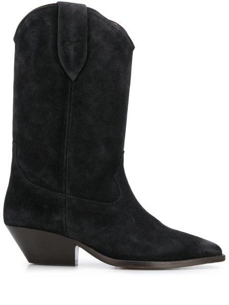 Кожаные черные сапоги на шпильке на каблуке Isabel Marant