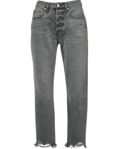 Пляжные серые джинсы с высокой посадкой с манжетами с карманами Frame