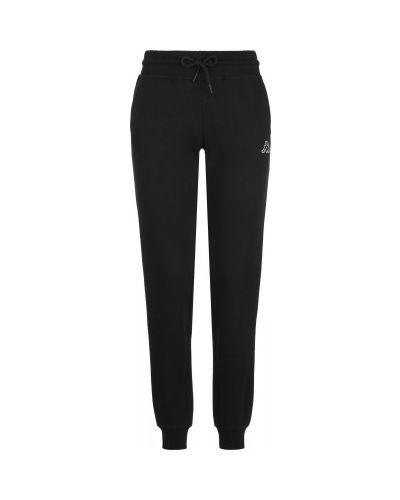 Прямые хлопковые черные спортивные брюки Kappa