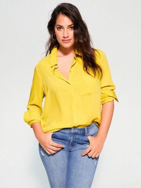 Блузка с длинным рукавом весенний желтый Violeta By Mango