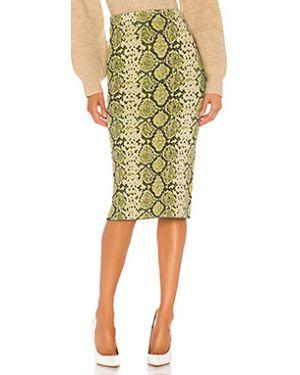 Зеленая юбка миди в рубчик из вискозы J.o.a.