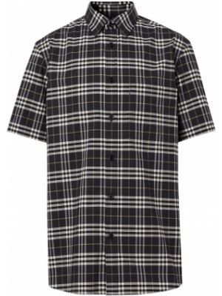 Koszula krótkie z krótkim rękawem dżinsowa z kołnierzem Burberry