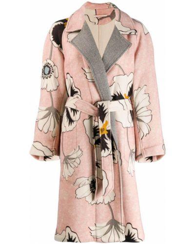 Розовое пальто с поясом Ermanno Gallamini