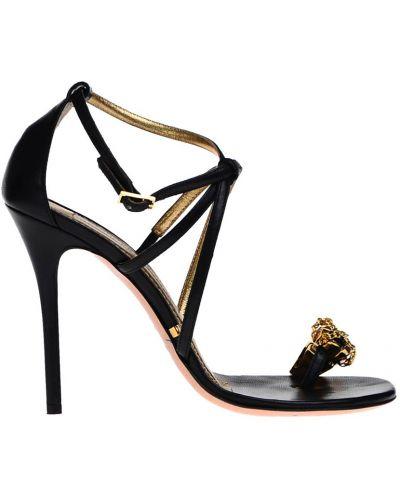 Босоножки на каблуке кожаные Gianmarco Lorenzi
