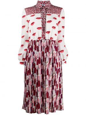 Шелковое классическое платье миди на пуговицах с воротником Prada
