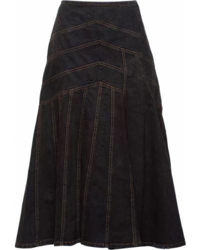 Джинсовая юбка асимметричная хлопковая Miu Miu