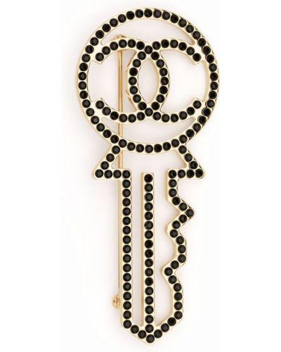 Złota broszka - czarna Chanel Pre-owned