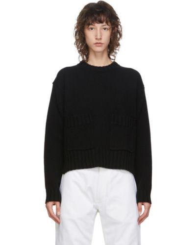Шерстяной черный свитер с воротником с карманами Studio Nicholson