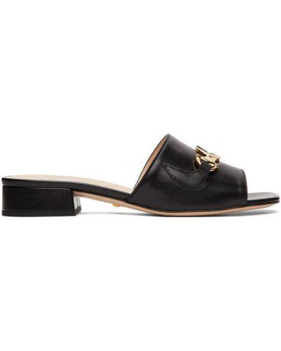 Черные кожаные мюли на каблуке Gucci