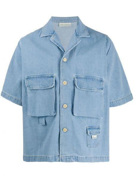 Niebieska koszula jeansowa krótki rękaw bawełniana Drole De Monsieur