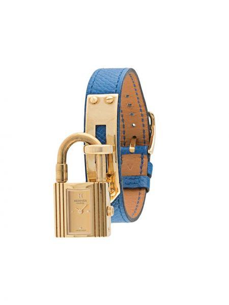 Niebieski złoty zegarek na skórzanym pasku pozłacany Hermes