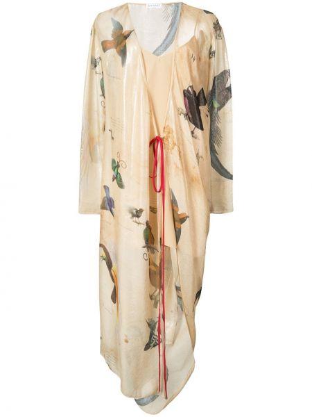 Beżowa sukienka długa kopertowa z długimi rękawami Vionnet