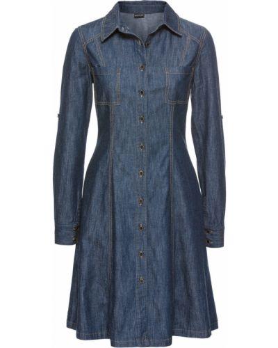 Джинсовое платье на пуговицах с воротником Bonprix