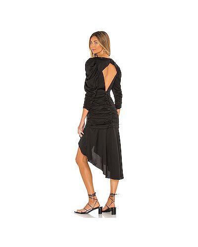 Текстильное черное платье миди на молнии с оборками For Love & Lemons
