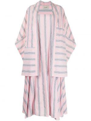 Расклешенное розовое платье миди в полоску Bambah