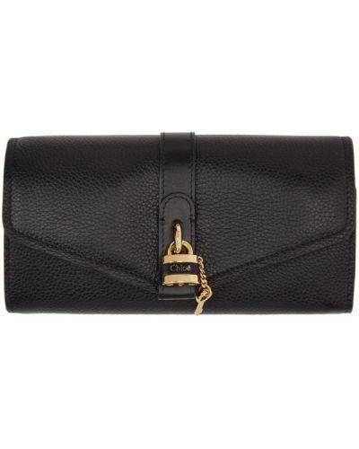 Czarny skórzany portfel z kieszeniami Chloe