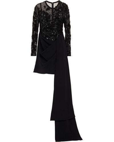 Черное платье с пайетками из фатина Elie Saab