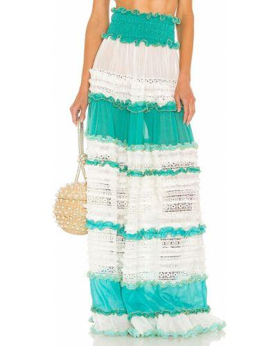 Niebieska spódnica z frędzlami Chio