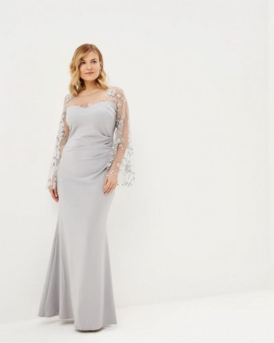 Вечернее платье серое осеннее Goddiva Size Plus