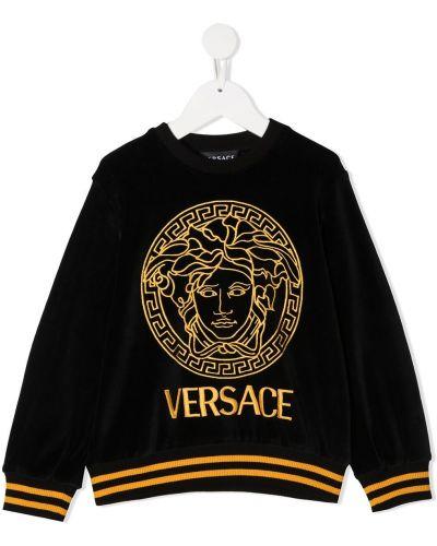 Czarna bluza z haftem z długimi rękawami Young Versace