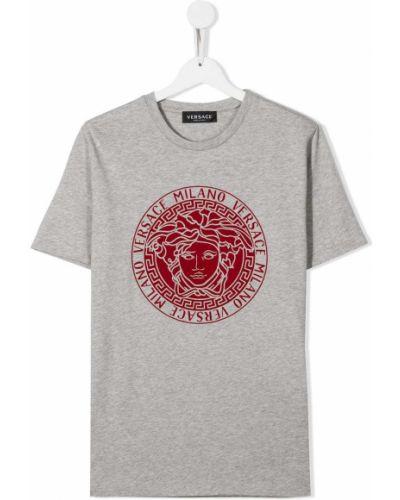 T-shirt bawełniany krótki rękaw z printem Young Versace