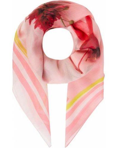 Różowy szalik z jedwabiu z printem Fraas