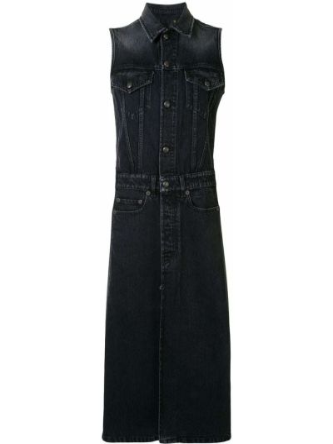Классическое серое платье миди на пуговицах с воротником R13