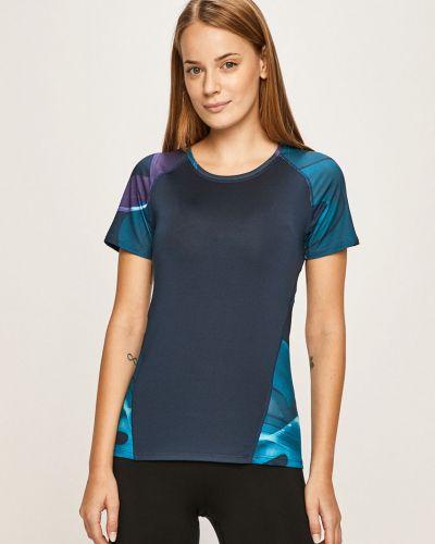 Футбольная темно-синяя спортивная футболка с пайетками с декольте Desigual Sport
