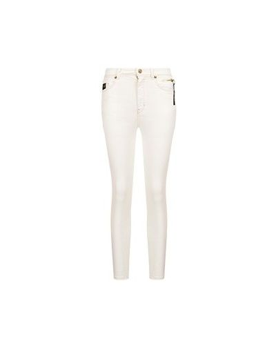 Хлопковые зауженные белые джинсы-скинни Versace Jeans Couture