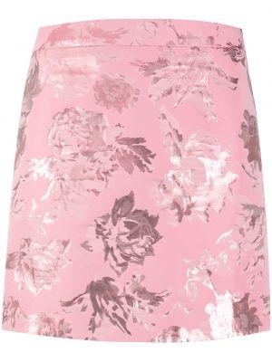 Хлопковая прямая розовая с завышенной талией юбка мини Stine Goya