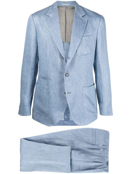 Прямой синий льняной костюм Brunello Cucinelli