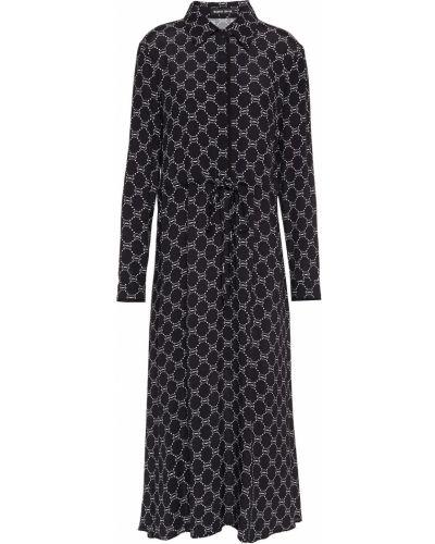 Плиссированное черное платье миди из крепа Markus Lupfer