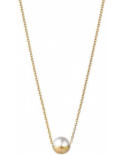 Желтое ожерелье с жемчугом металлическое Shihara