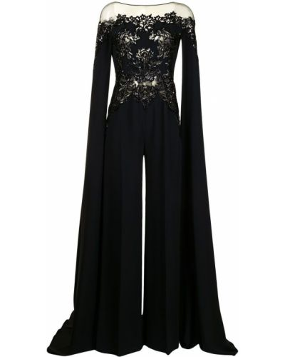 Свободный шелковый черный комбинезон Zuhair Murad