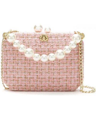 Розовая сумка на цепочке с декоративной отделкой с подкладкой Isla