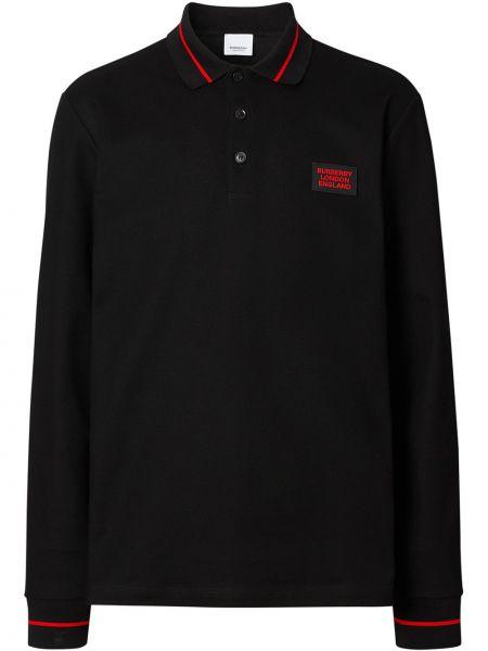 Czarny klasyczna koszula z kołnierzem z mankietami z paskami Burberry