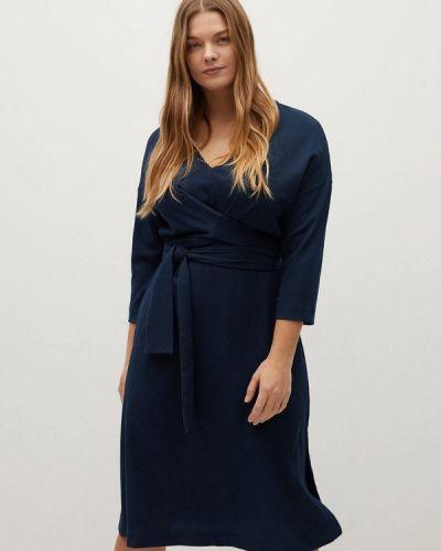 Прямое синее платье Violeta By Mango