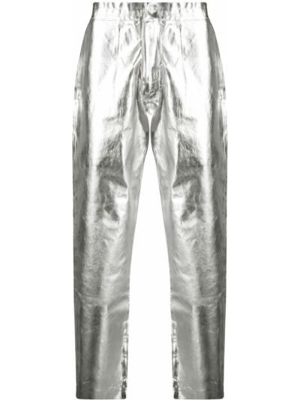 Spodnie z wysokim stanem srebrne Comme Des Garcons Homme Plus