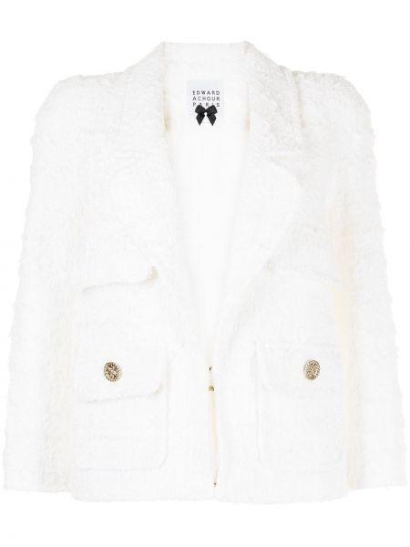 Белый пиджак твидовый с карманами Edward Achour Paris
